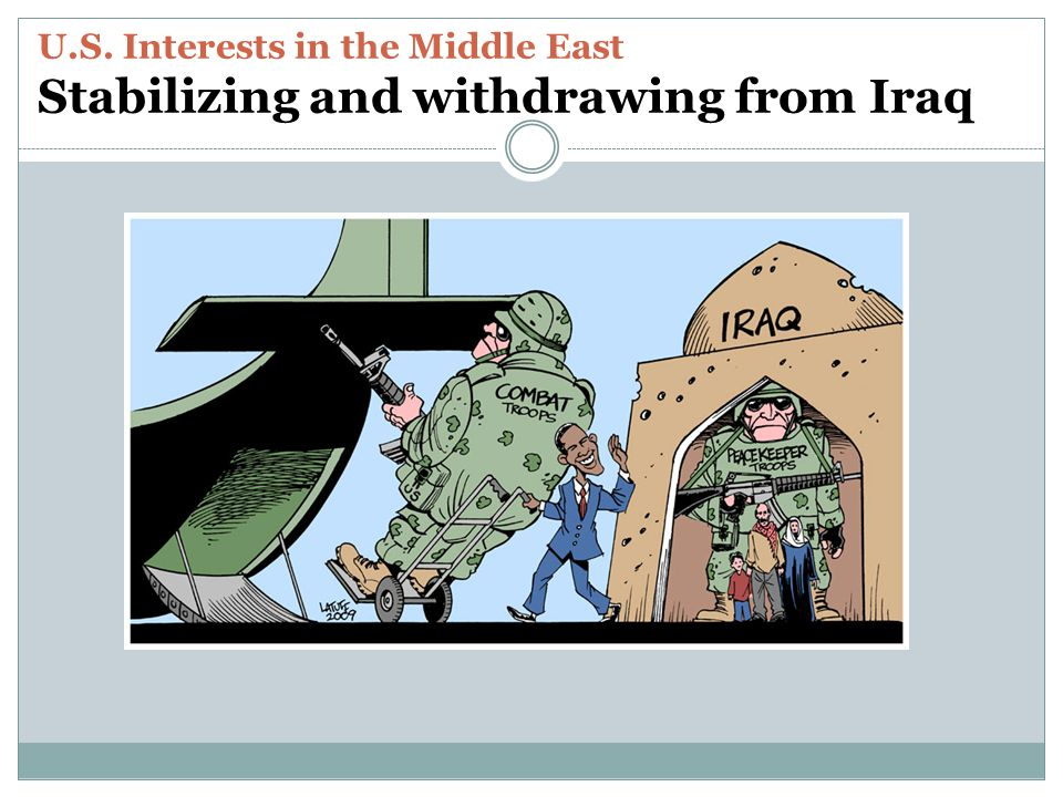 U.S. Interests in the Middle East Stabilizing and withdrawing from Iraq