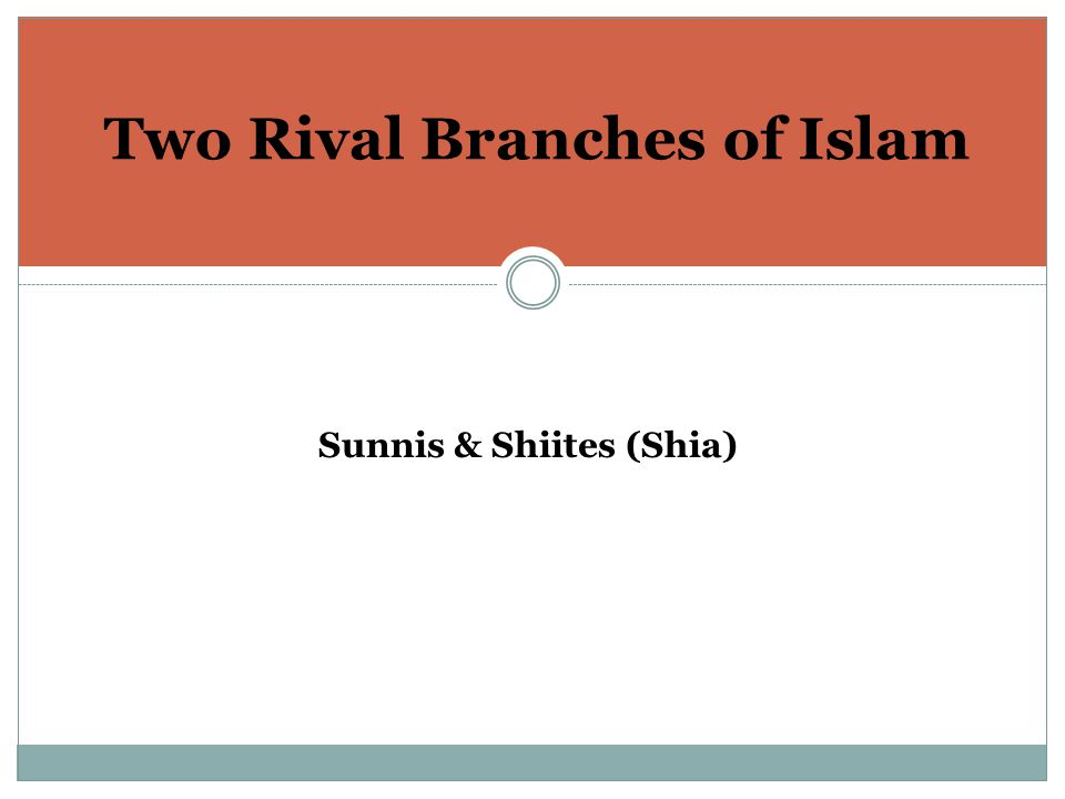 Two Rival Branches of Islam Sunnis & Shiites (Shia)