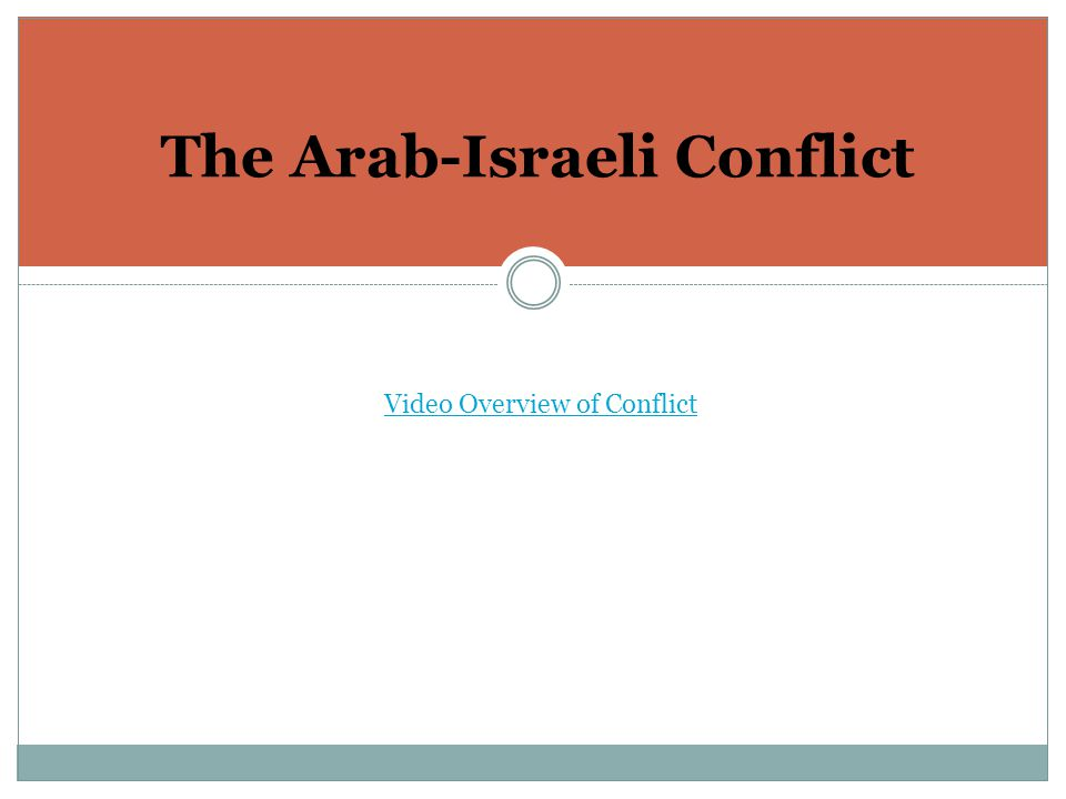 The Arab-Israeli Conflict Video Overview of Conflict
