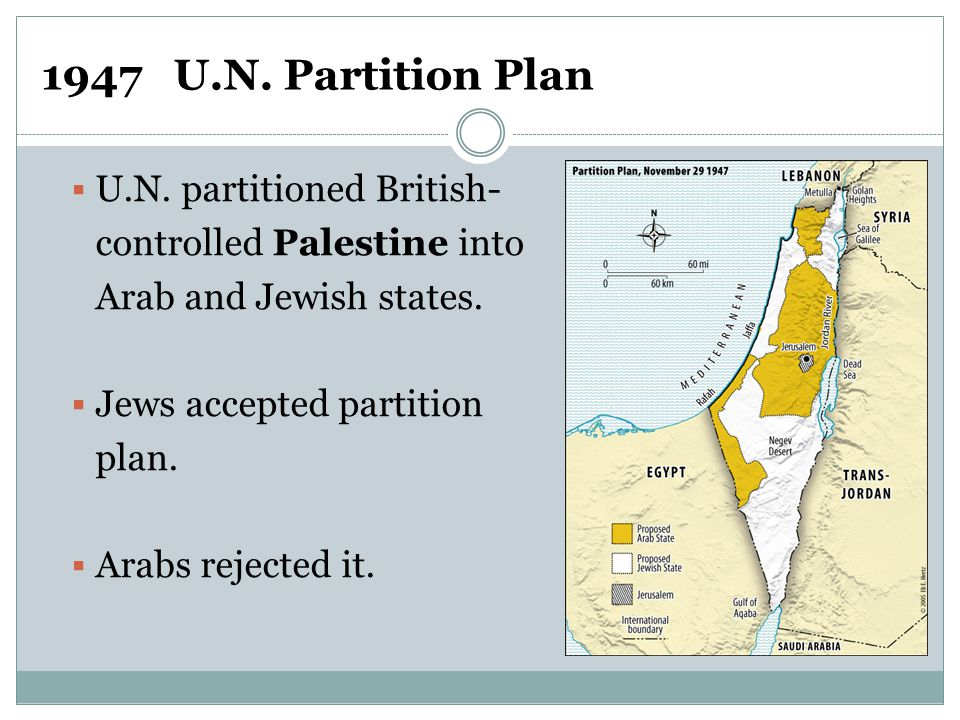  U.N. partitioned British- controlled Palestine into Arab and Jewish states.  Jews accepted partition plan.  Arabs rejected it. 1947 U.N. Partition