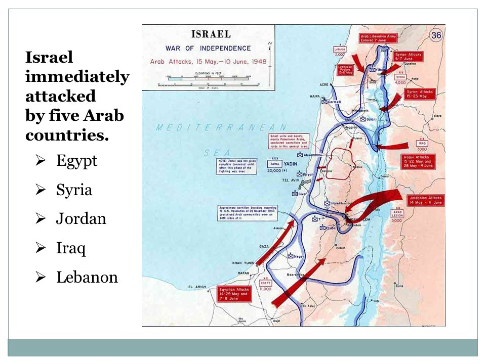 Israel immediately attacked by five Arab countries.  Egypt  Syria  Jordan  Iraq  Lebanon