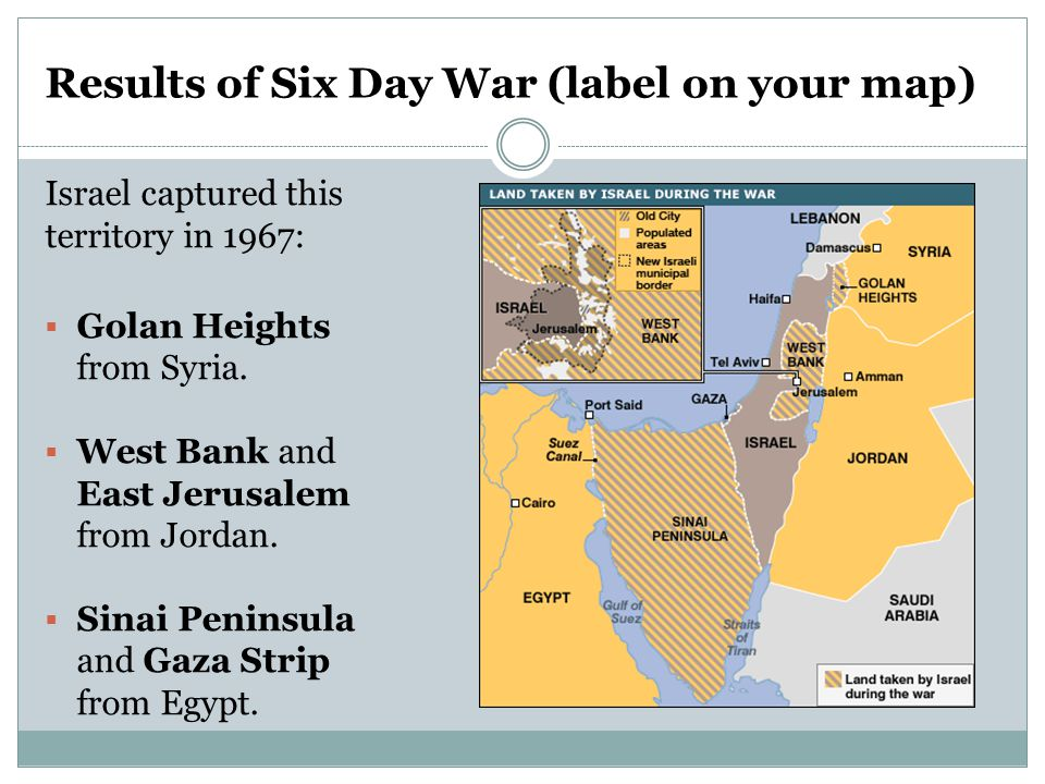 Results of Six Day War (label on your map) Israel captured this territory in 1967:  Golan Heights from Syria.