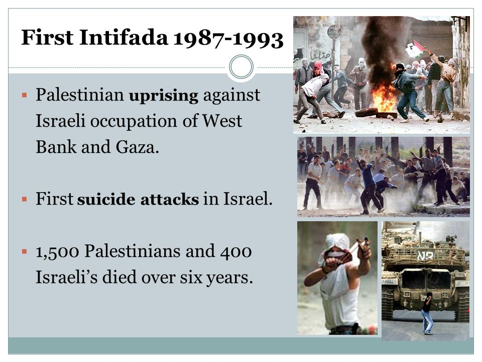 First Intifada 1987-1993  Palestinian uprising against Israeli occupation of West Bank and Gaza.