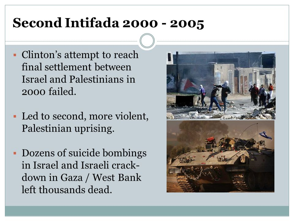 Second Intifada 2000 - 2005  Clinton's attempt to reach final settlement between Israel and Palestinians in 2000 failed.