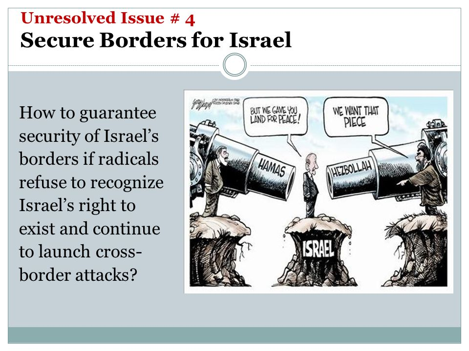 Unresolved Issue # 4 Secure Borders for Israel How to guarantee security of Israel's borders if radicals refuse to recognize Israel's right to exist and continue to launch cross- border attacks?