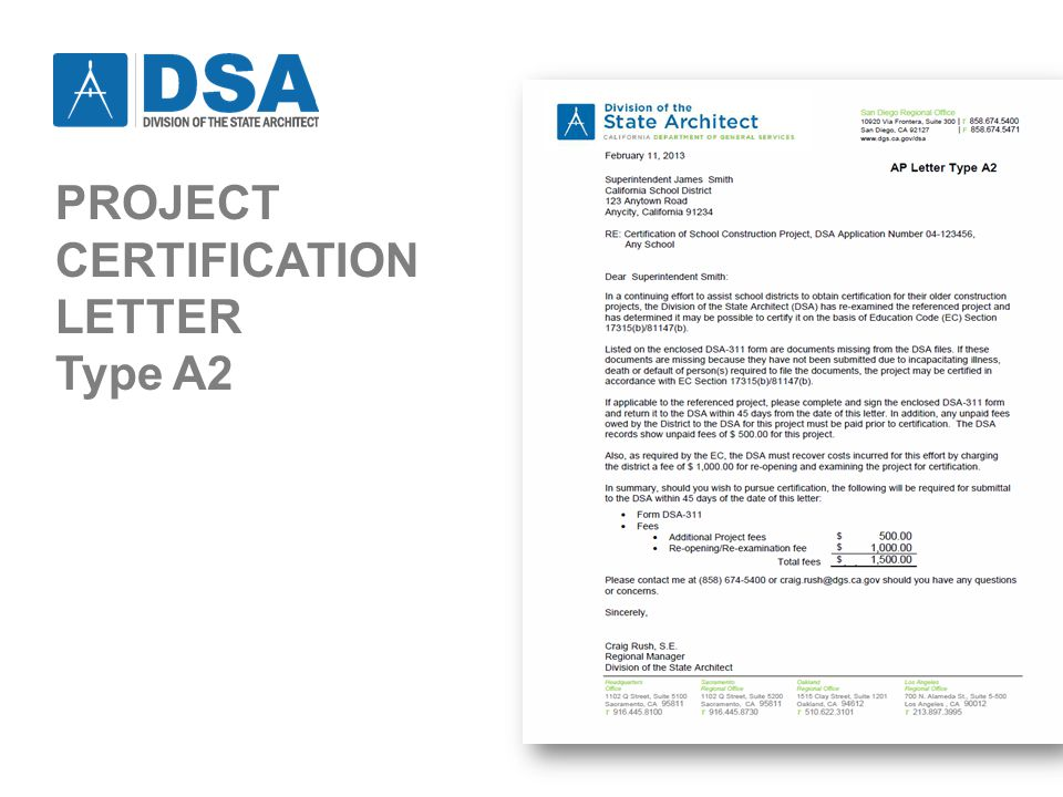 PROJECT CERTIFICATION LETTER Type A2