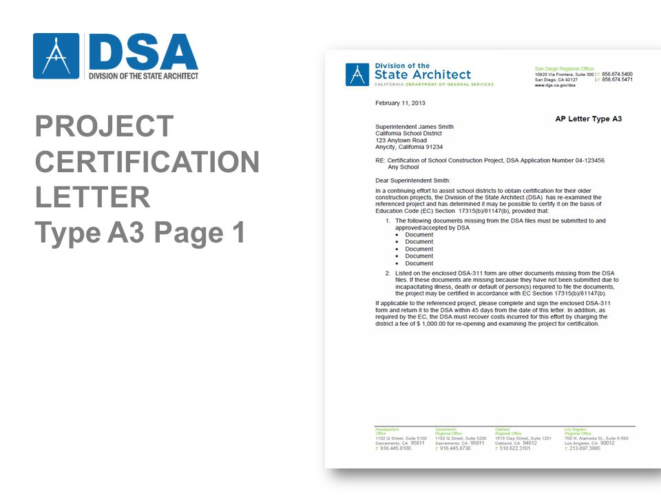 PROJECT CERTIFICATION LETTER Type A3 Page 1