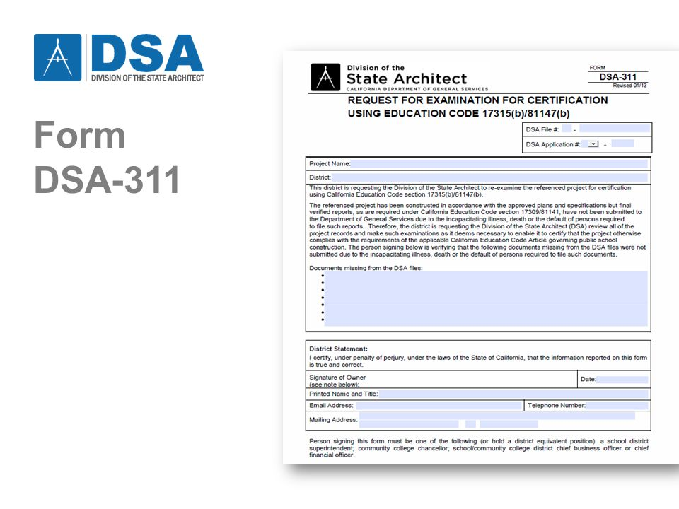 2/27/2013DSA - PROJECT CERTIFICATION9 ALTERNATE PROCESSES Certification Guide describes four Alternate Process types (A, B, C, and D): Alternate Processes A and B – may be used for any project type.