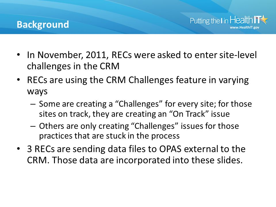 Background In November, 2011, RECs were asked to enter site-level challenges in the CRM RECs are using the CRM Challenges feature in varying ways – Some are creating a Challenges for every site; for those sites on track, they are creating an On Track issue – Others are only creating Challenges issues for those practices that are stuck in the process 3 RECs are sending data files to OPAS external to the CRM.