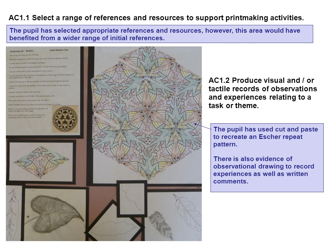 AC1.1 Select a range of references and resources to support printmaking activities.