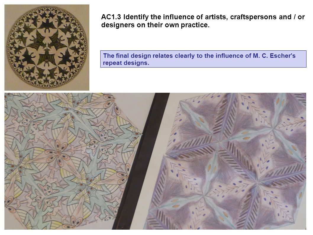 AC1.3 Identify the influence of artists, craftspersons and / or designers on their own practice.