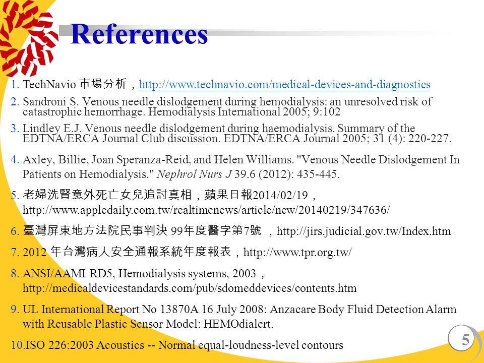 5 References 1.TechNavio 市場分析, http://www.technavio.com/medical-devices-and-diagnostics http://www.technavio.com/medical-devices-and-diagnostics 2.Sandroni S.
