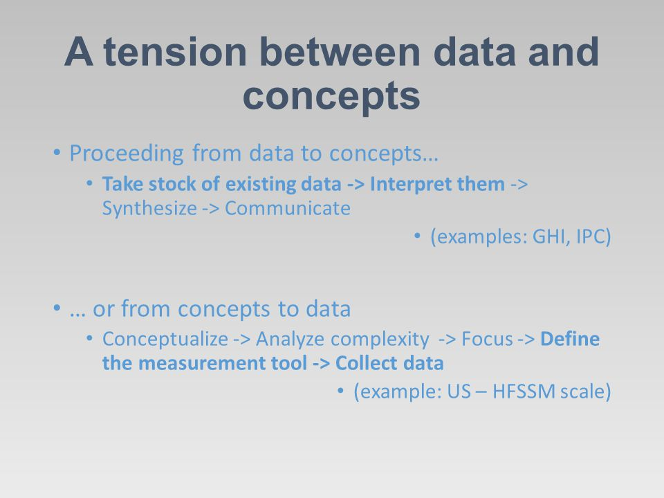 A tension between data and concepts Proceeding from data to concepts… Take stock of existing data -> Interpret them -> Synthesize -> Communicate (exam