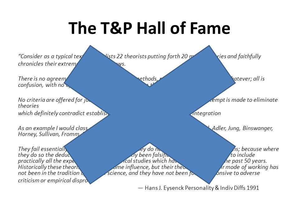 The T&P Hall of Fame Consider as a typical textbook…It lists 22 theorists putting forth 20 major theories and faithfully chronicles their extremely divergent views.