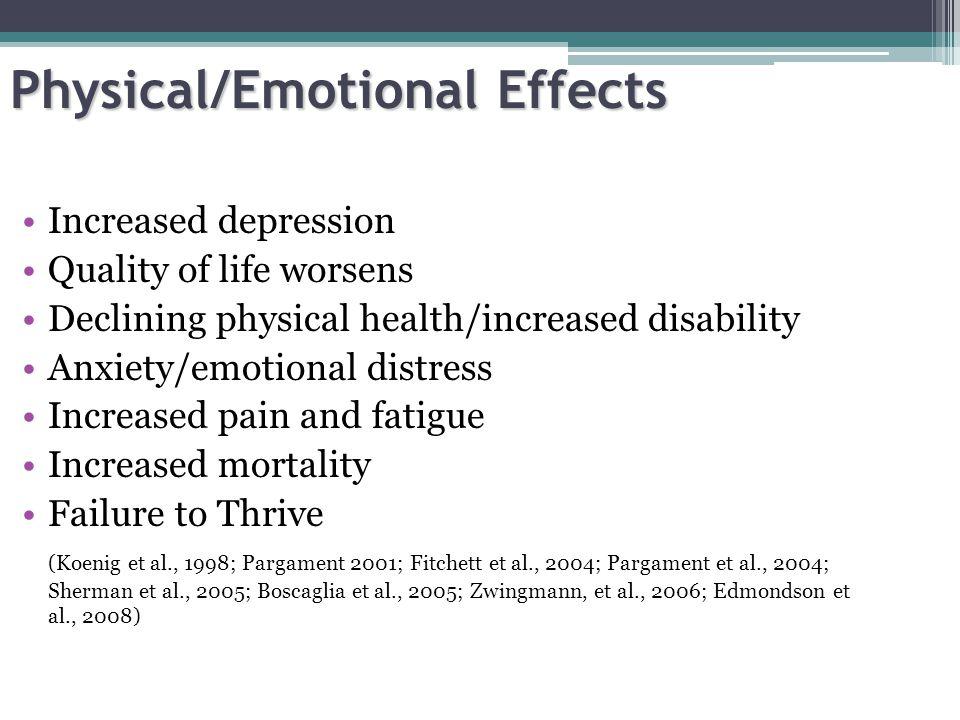 Physical/Emotional Effects Increased depression Quality of life worsens Declining physical health/increased disability Anxiety/emotional distress Increased pain and fatigue Increased mortality Failure to Thrive (Koenig et al., 1998; Pargament 2001; Fitchett et al., 2004; Pargament et al., 2004; Sherman et al., 2005; Boscaglia et al., 2005; Zwingmann, et al., 2006; Edmondson et al., 2008)