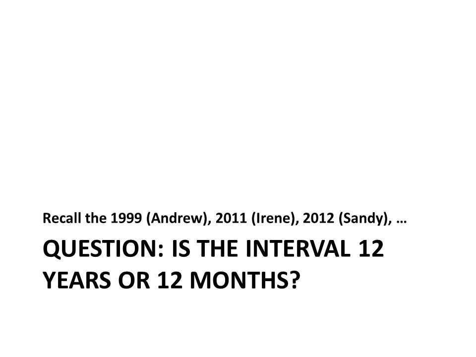 QUESTION: IS THE INTERVAL 12 YEARS OR 12 MONTHS.