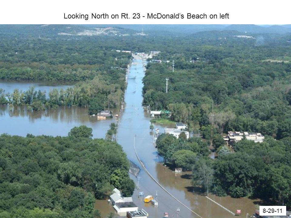 Looking North on Rt. 23 - McDonald's Beach on left 8-29-11