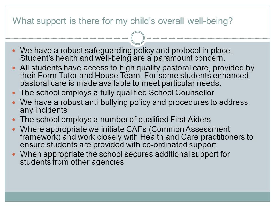 What support is there for my child's overall well-being.