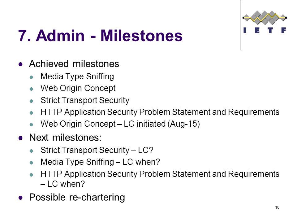 7. Admin - Milestones Achieved milestones Media Type Sniffing Web Origin Concept Strict Transport Security HTTP Application Security Problem Statement