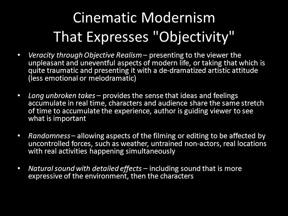 Cinematic Modernism That Expresses