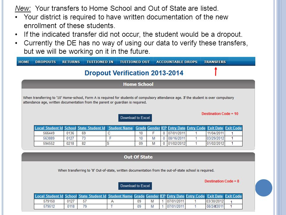 New: Your transfers to Home School and Out of State are listed.