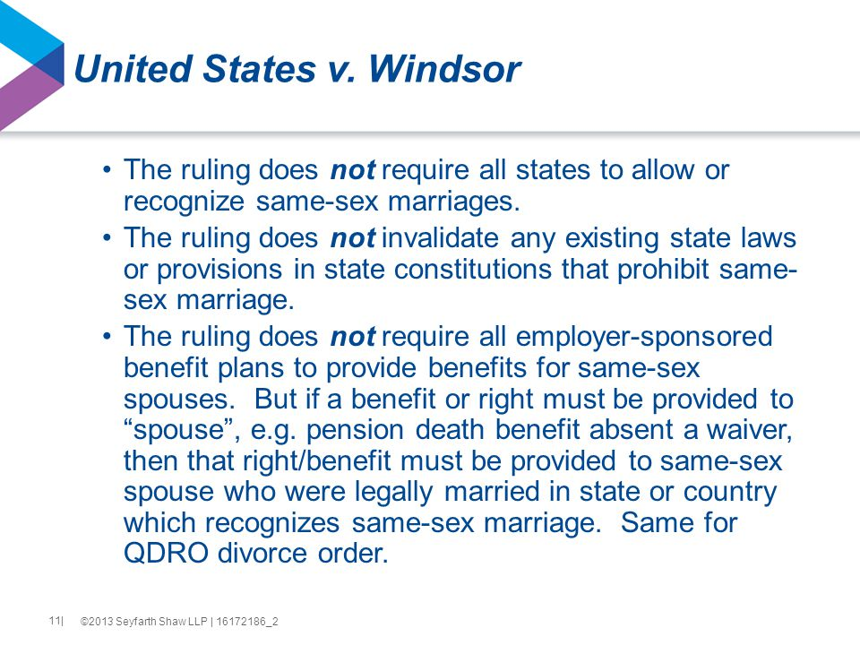 United States v. Windsor The ruling does not require all states to allow or recognize same-sex marriages. The ruling does not invalidate any existing
