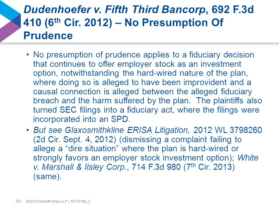 Dudenhoefer v. Fifth Third Bancorp, 692 F.3d 410 (6 th Cir.