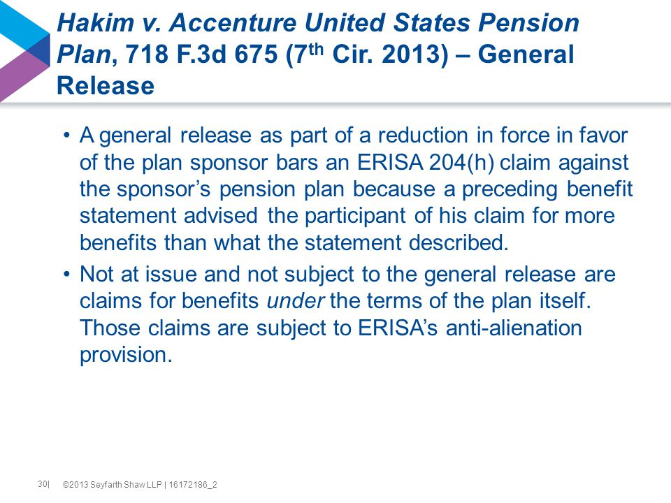 Hakim v. Accenture United States Pension Plan, 718 F.3d 675 (7 th Cir.