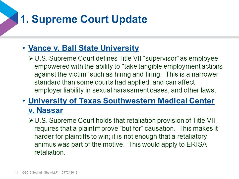 1. Supreme Court Update Vance v. Ball State University  U.S.