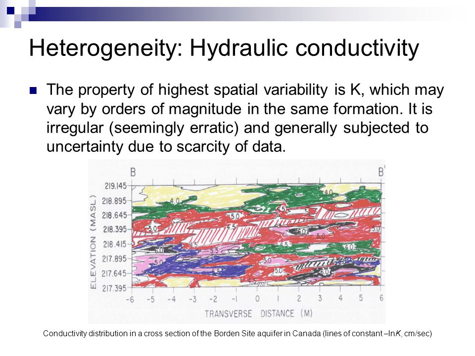 Heterogeneity: Hydraulic conductivity The property of highest spatial variability is K, which may vary by orders of magnitude in the same formation. I