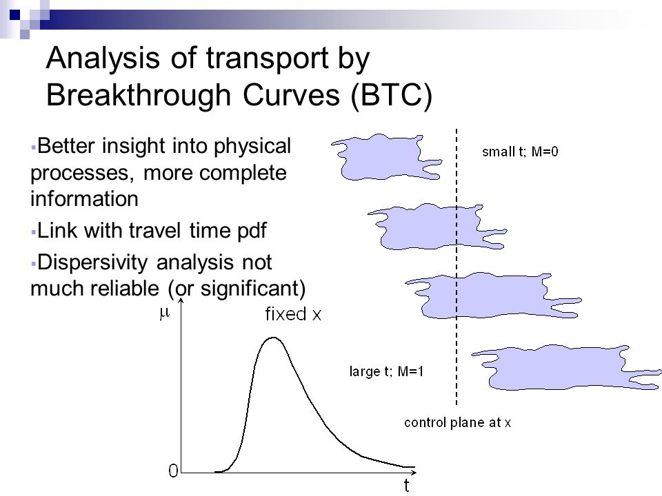 Analysis of transport by Breakthrough Curves (BTC)  Better insight into physical processes, more complete information  Link with travel time pdf  D