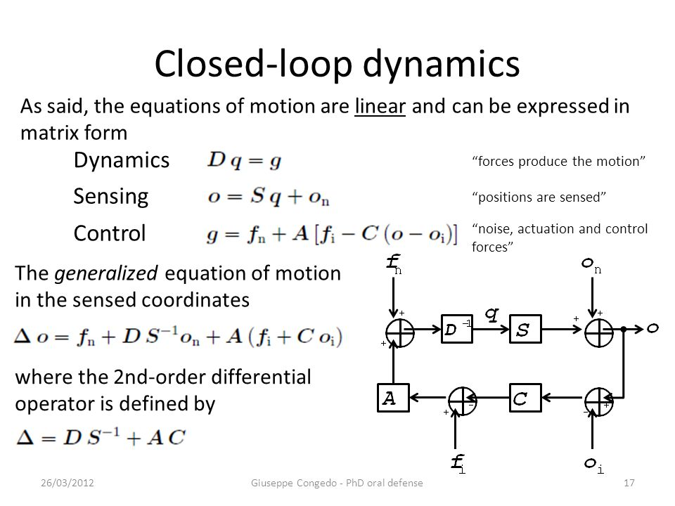 Closed-loop dynamics 26/03/2012Giuseppe Congedo - PhD oral defense17 Dynamics Control Sensing The generalized equation of motion in the sensed coordinates where the 2nd-order differential operator is defined by As said, the equations of motion are linear and can be expressed in matrix form forces produce the motion positions are sensed noise, actuation and control forces