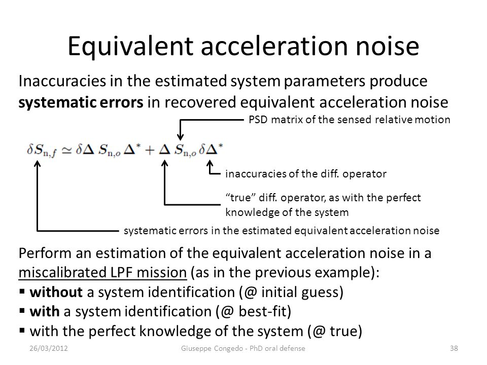 Equivalent acceleration noise 26/03/2012Giuseppe Congedo - PhD oral defense38 Inaccuracies in the estimated system parameters produce systematic errors in recovered equivalent acceleration noise PSD matrix of the sensed relative motion true diff.