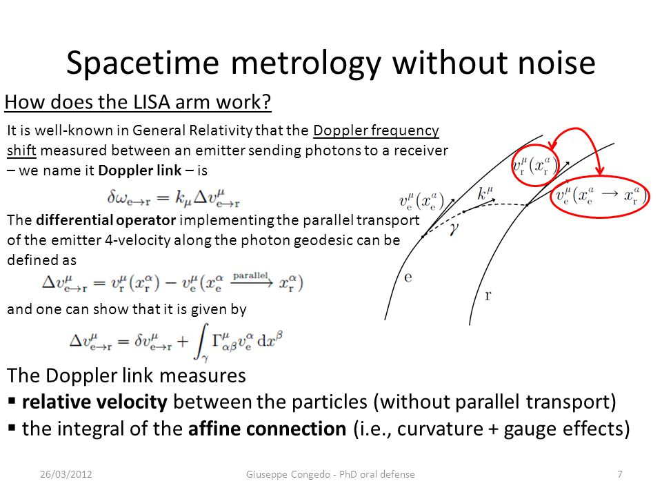 Spacetime metrology without noise Giuseppe Congedo - PhD oral defense26/03/20127 The differential operator implementing the parallel transport of the emitter 4-velocity along the photon geodesic can be defined as and one can show that it is given by The Doppler link measures  relative velocity between the particles (without parallel transport)  the integral of the affine connection (i.e., curvature + gauge effects) It is well-known in General Relativity that the Doppler frequency shift measured between an emitter sending photons to a receiver – we name it Doppler link – is How does the LISA arm work