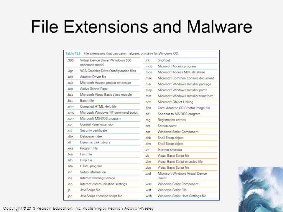 Copyright © 2013 Pearson Education, Inc. Publishing as Pearson Addison-Wesley File Extensions and Malware