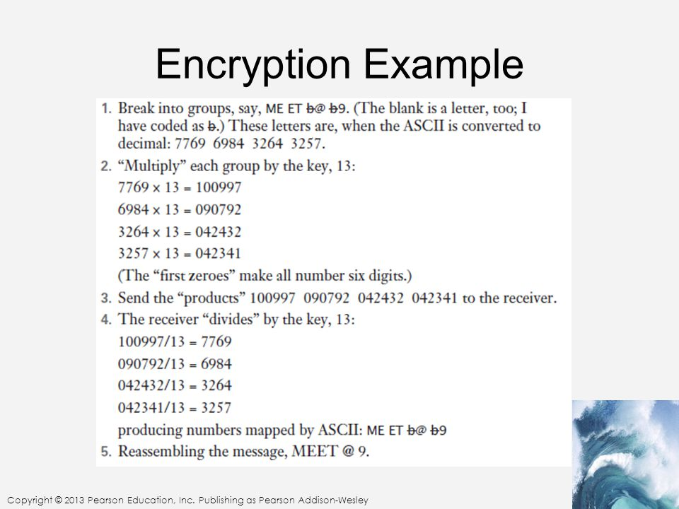 Copyright © 2013 Pearson Education, Inc. Publishing as Pearson Addison-Wesley Encryption Example
