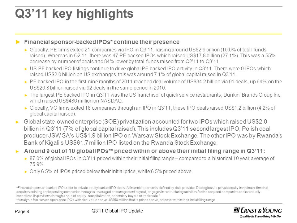 Q3'11 Global IPO Update Page 8 Q3'11 key highlights ►Financial sponsor-backed IPOs* continue their presence ► Globally, PE firms exited 21 companies v