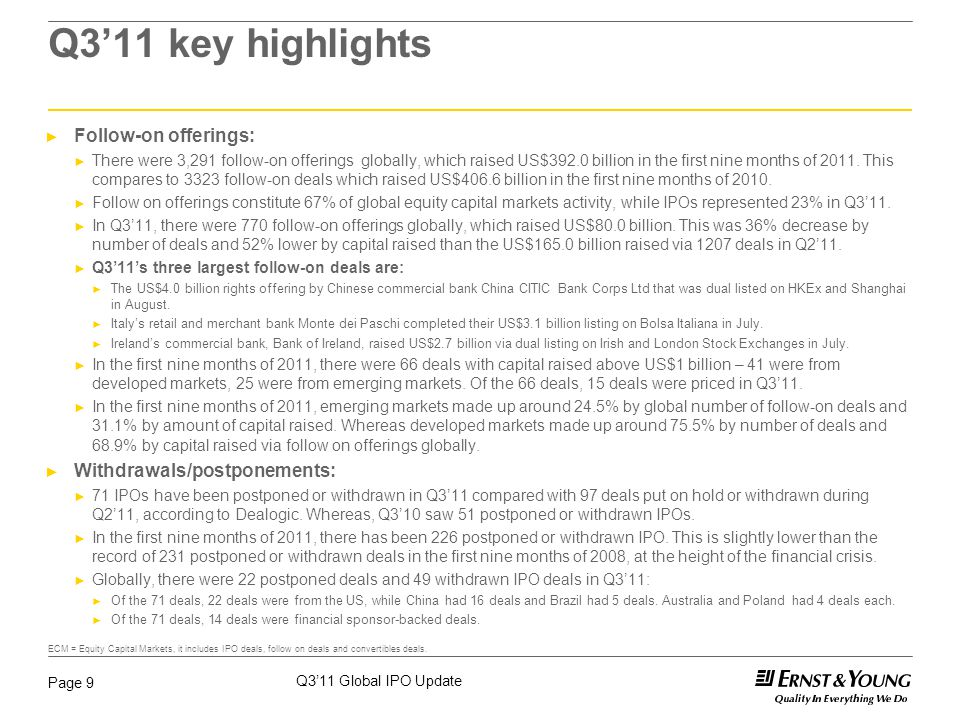 Q3'11 Global IPO Update Page 9 Q3'11 key highlights ► Follow-on offerings: ► There were 3,291 follow-on offerings globally, which raised US$392.0 billion in the first nine months of 2011.