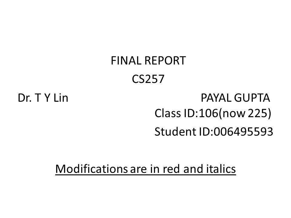 FINAL REPORT CS257 Dr.