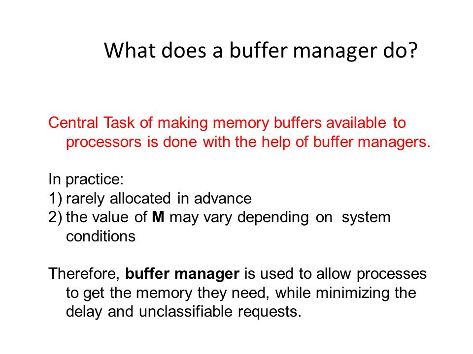 What does a buffer manager do.