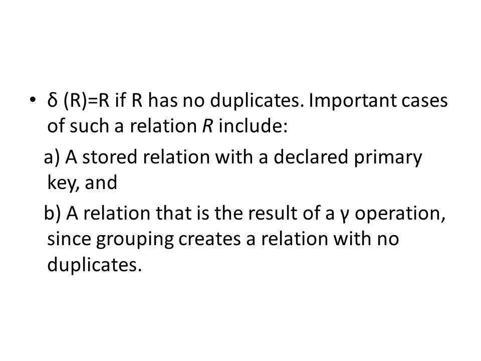 δ (R)=R if R has no duplicates.