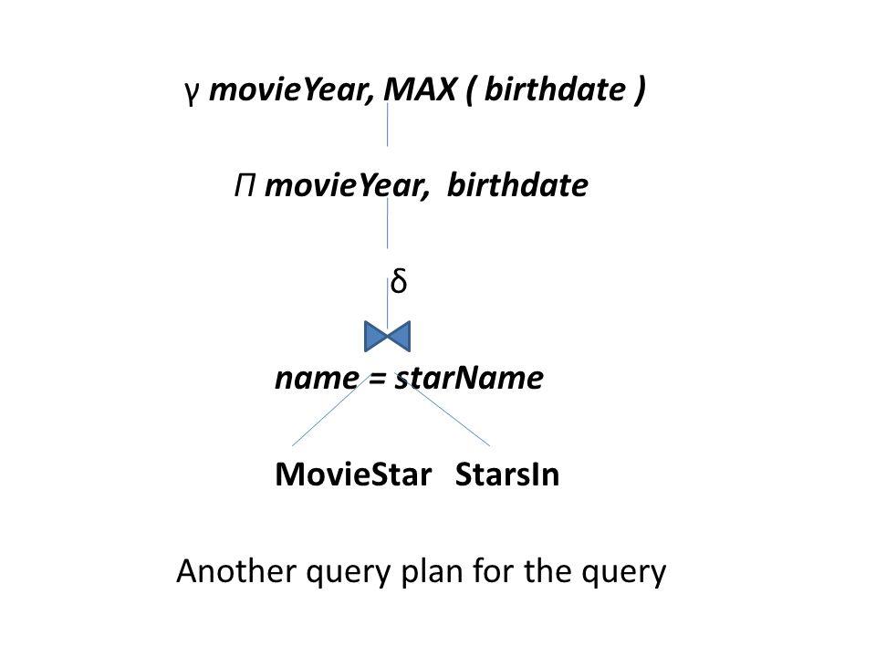 γ movieYear, MAX ( birthdate ) Π movieYear, birthdate δ name = starName MovieStar StarsIn Another query plan for the query