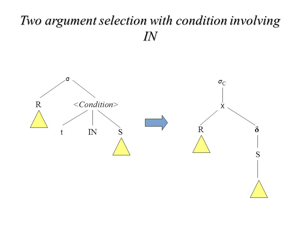 Two argument selection with condition involving IN σ R tINS σCσC X R δ S