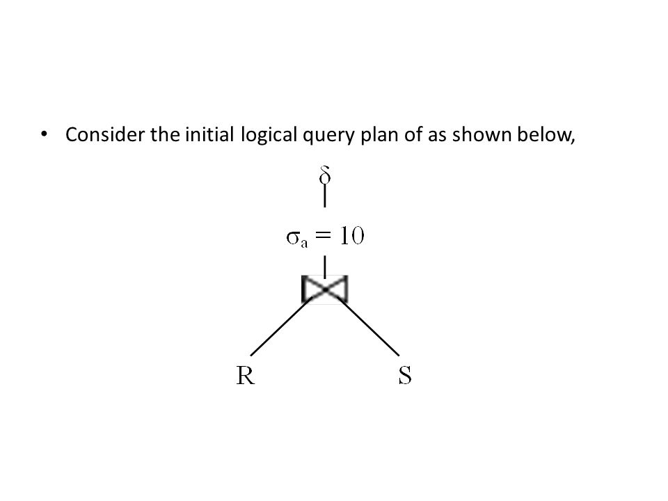 Consider the initial logical query plan of as shown below,