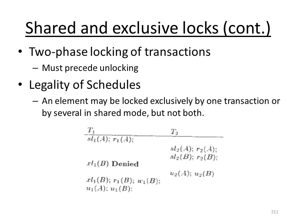 Shared and exclusive locks (cont.) Two-phase locking of transactions – Must precede unlocking Legality of Schedules – An element may be locked exclusively by one transaction or by several in shared mode, but not both.