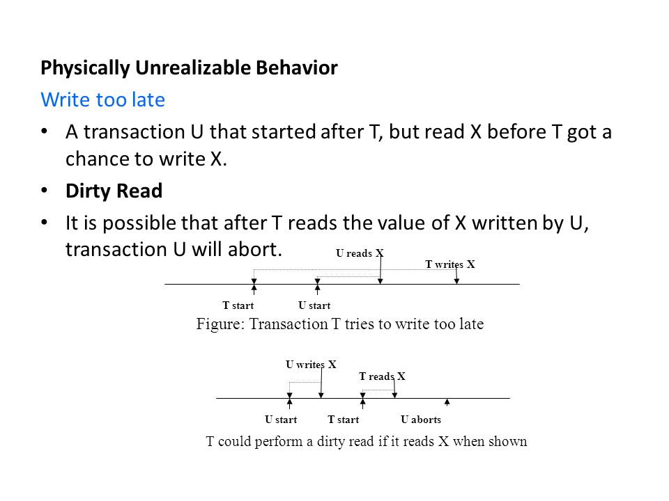 Physically Unrealizable Behavior Write too late A transaction U that started after T, but read X before T got a chance to write X.
