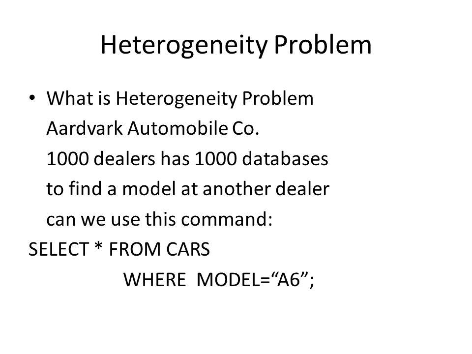 Heterogeneity Problem What is Heterogeneity Problem Aardvark Automobile Co.