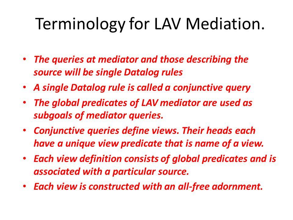 Terminology for LAV Mediation.