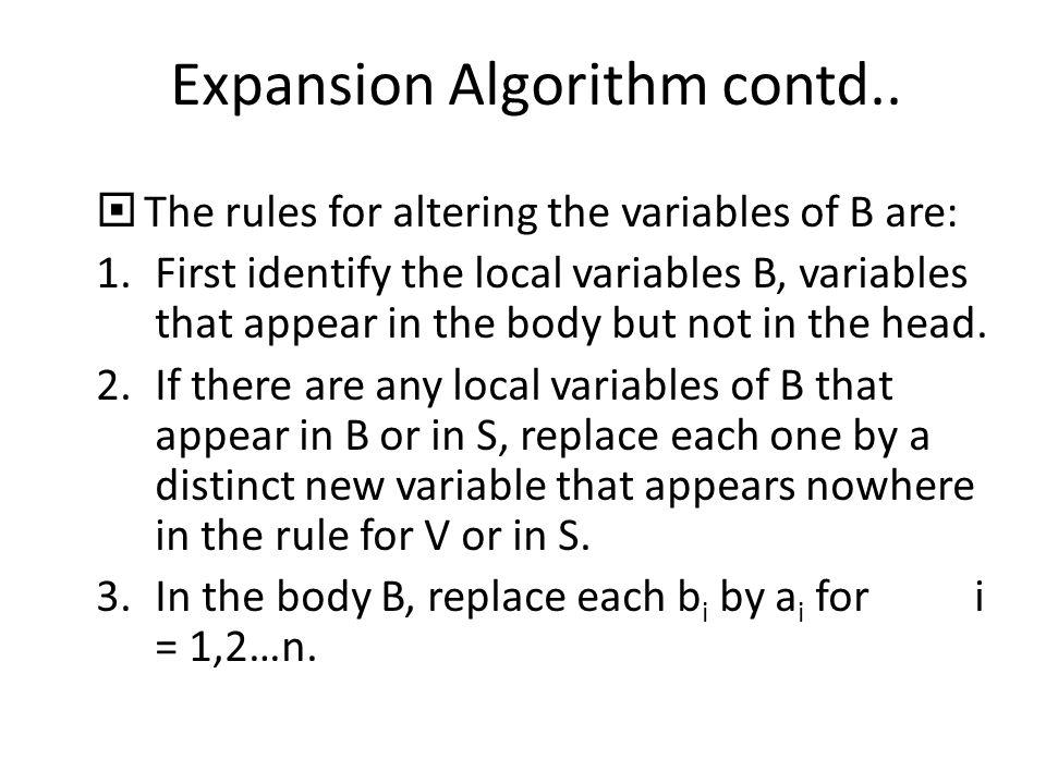 Expansion Algorithm contd..