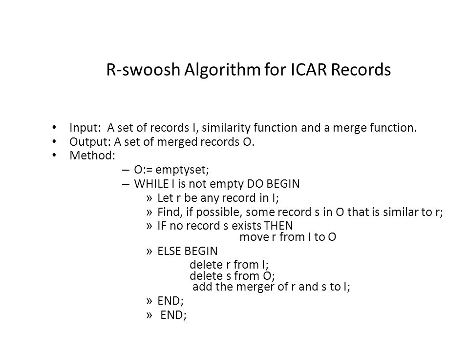 R-swoosh Algorithm for ICAR Records Input: A set of records I, similarity function and a merge function.